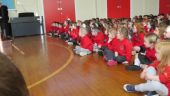 Nursery children attend their  first whole school assembly.