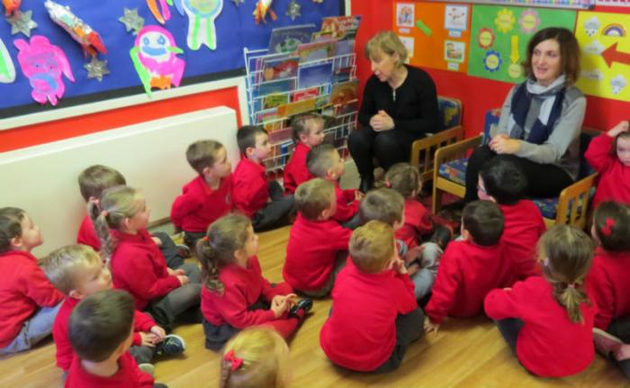 Mrs Gribbin and Mrs Kelly meet our Nursery children.